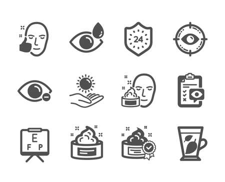 Set of Medical icons, such as Eye target, Face cream, Healthy face, Vision board, Sun protection, Eye drops, Mint leaves, Cream, Myopia, 24 hours classic icons. Optometry, Gel. Eye target icon. Vector