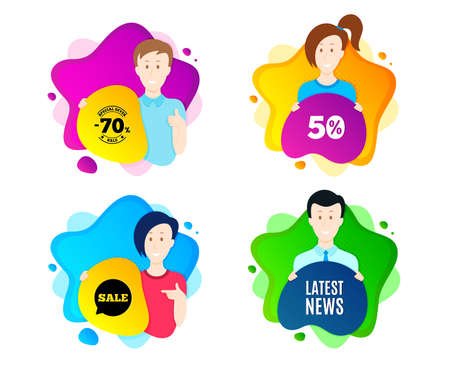 Latest news symbol. People shape offer badge. Media newspaper sign. Daily information. Dynamic shape offer. Worker person badge. Cut out people coupon. Latest news text. Vector Illustration