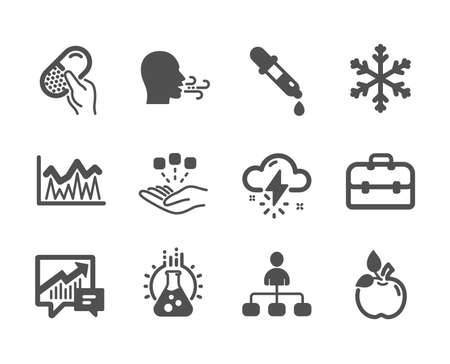 Set of Science icons, such as Thunderstorm weather, Breathing exercise, Chemistry pipette, Chemistry lab, Management, Investment, Portfolio, Capsule pill, Eco food, Accounting, Snowflake. Vector