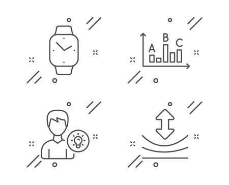 Smartwatch, Survey results and Person idea line icons set. Resilience sign. Digital time, Best answer, Lamp energy. Elastic. Technology set. Line smartwatch outline icon. Vector