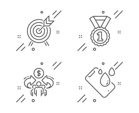Archery, Best rank and Sharing economy line icons set. Smartphone waterproof sign. Attraction park, Success medal, Share. Phone. Line archery outline icon. Vector