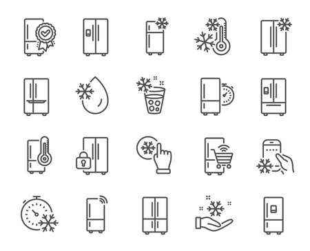 Fridge line icons. Refrigerator, freezer storage, smart fridge machine. Water with ice, cooler box, thermometer icons. Wifi remote access, thermostat timer, smart freezer. Vector Vector Illustratie