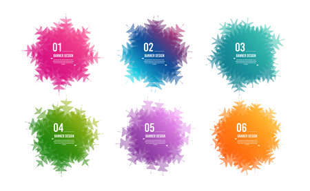 Infographics snowflake steps. Colorful 6 options banners. Overlay colors shape art design. Abstract snowflake style spots. Graphic tag element for advertisements. Business infographics. Vector