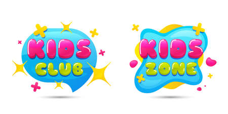 Kids club chat bubble sticker. Kids playing zone icon. Kid games entertainment club badges. Children play room banners. Geometric liquid shape label. Vector playroom banner