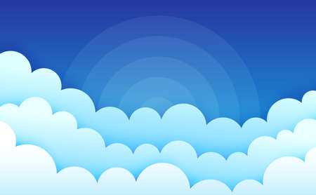 Cartoon clouds on blue sky. Cumulus fluffy clouds. Cloudscape in blue sky. Abstract sunburst rays. Atmospheric background. Puffy cloudy weather. Vector