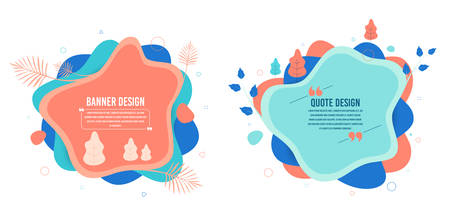 Abstract vector banners. Geometric liquid forms with tree and leaf. Template fantasy bagdes. Dynamic fluid banners. Various colors modern template with trees. Text with quotes. Vector shapes Illustration