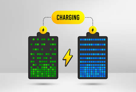 Battery electric charge. Accumulator charging icons. Recharge battery symbol. Energy lightning. Power indicator. Electric charger. Vector  イラスト・ベクター素材