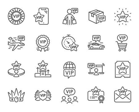 VIP-Liniensymbole. Casino-Chips, sehr wichtige Person, Lieferpaket. Zertifikat, Spielertisch, VIP-Käufersymbole. Krone, Casino-Ticket, Business-Class-Flug. Mitgliedschaftsprivileg. Vektor Vektorgrafik