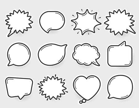Comic speech bubbles vector. Thinking and speaking clouds. Retro bubbles shapes. Balloons with halftone shadow. Vintage pop art style design. Comic graphic elements. Cartoon badge. Vector balloons