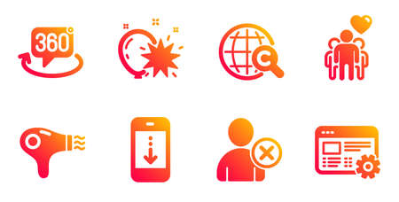 360 degree, Delete user and Hair dryer line icons set. Scroll down, Balloon dart and Friendship signs. International ?opyright, Web settings symbols. Virtual reality, Remove profile. Vector Ilustração