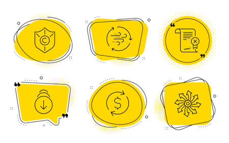 Urheberrechtsschutz, Dollarwechsel und vielseitige Zeichen. Chat-Blasen. Zertifikat ablehnen, nach unten scrollen und Symbole für die Windenergielinie festlegen. Datei ablehnen, Bildschirm wischen, Breeze-Power. Schild. Vektor Vektorgrafik