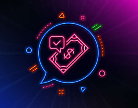 Accepted Payment line icon. Neon laser lights. Dollar money sign. Finance symbol. Glow laser speech bubble. Neon lights chat bubble. Banner badge with accepted payment icon. Vector