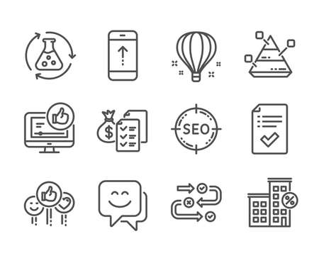 Set of Technology icons, such as Survey progress, Smile face, Air balloon, Approved checklist, Loan house, Chemistry experiment, Accounting wealth, Like video, Pyramid chart, Seo, Swipe up. Vector