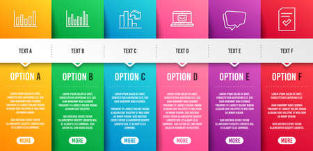 E-mail, Column chart and Speech bubble line icons set. Infographic timeline. Bar diagram, Decreasing graph and Checked file signs. New message, Financial graph, Chat message. Vector