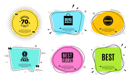 Best sign. Best seller, quote text. Special offer Sale sign. Advertising Discounts symbol. Quotation bubble. Banner badge, texting quote boxes. Best text. Coupon offer. Vector Illustration