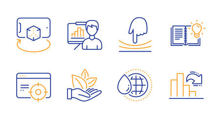 Elastic, Augmented reality and Organic product line icons set. World water, Seo targeting and Product knowledge signs. Presentation board, Decreasing graph symbols. Line elastic icon. Vector Çizim