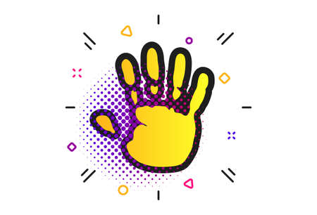 Hand print sign icon. Halftone dots pattern. Stop symbol. Classic flat hand print icon. Vector Stock Illustratie