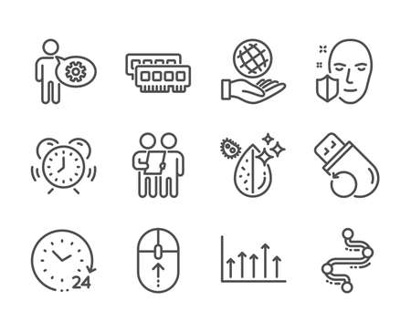 Set of Science icons, such as Time management, Survey, Face protection, Cogwheel, Swipe up, Flash memory, Timeline, Safe planet, Growth chart, Dirty water, 24 hours, Ram line icons. Vector Illusztráció