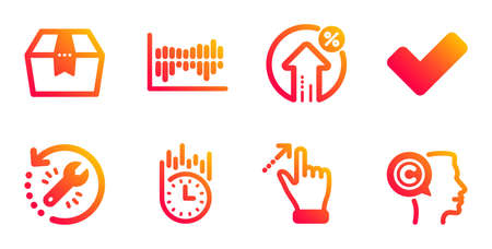 Loan percent, Tick and Column diagram line icons set. Fast delivery, Touchscreen gesture and Recovery tool signs. Package box, Writer symbols. Growth rate, Confirm check. Business set. Vector Illustration
