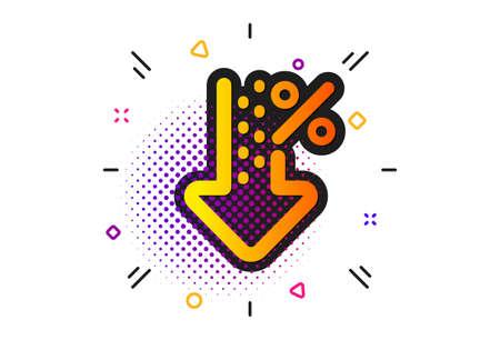 Discount sign. Halftone circles pattern. Low percent icon. Credit percentage decrease symbol. Classic flat low percent icon. Vector