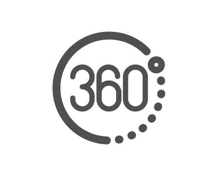 VR simulation sign. 360 degrees icon. Panoramic view symbol. Classic flat style. Simple 360 degrees icon. Vector Ilustração