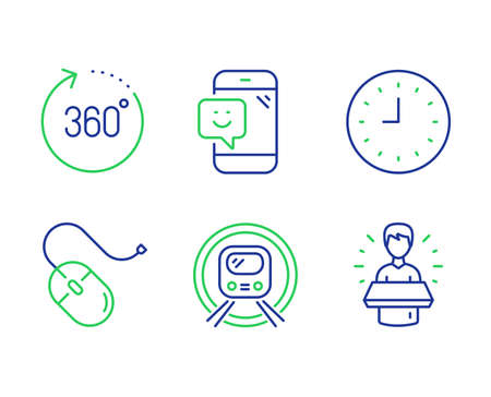 360 degrees, Computer mouse and Smile line icons set. Metro subway, Clock and Brand ambassador signs. Panoramic view, Pc device, Phone feedback. Underground. Technology set. Vector