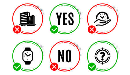 Buildings, Smartwatch and Safe time icons simple set. Yes no check box. Headhunter sign. City architecture, Digital time, Management. Aim with question mark. Business set. Buildings icon. Vector Illustration
