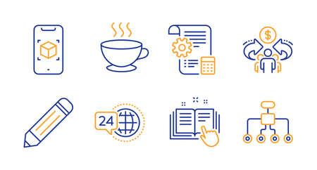 Technical documentation, 24h service and Sharing economy line icons set. Coffee cup, Augmented reality and Pencil signs. Settings blueprint, Restructuring symbols. Manual, Call support. Vector