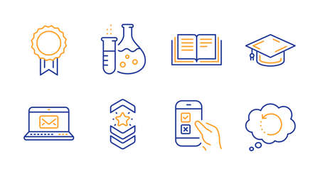 Chemistry flask, Mobile survey and E-mail line icons set. Shoulder strap, Education and Graduation cap signs. Reward, Recovery data symbols. Laboratory, Phone quiz test. Education set. Vector Banque d'images - 133179766