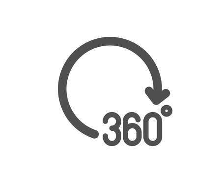 VR simulation sign. 360 degrees icon. Panoramic view symbol. Classic flat style. Simple 360 degrees icon. Vector Illusztráció