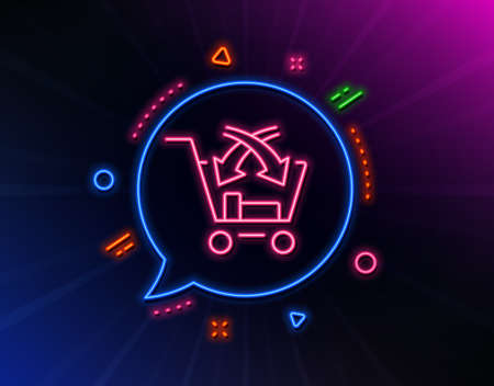 Cross sell line icon. Neon laser lights. Market retail sign. Glow laser speech bubble. Neon lights chat bubble. Banner badge with cross sell icon. Vector