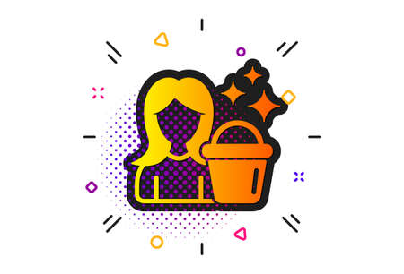 Woman with Bucket symbol. Halftone circles pattern. Cleaning service icon. Washing Housekeeping equipment sign. Classic flat cleaning icon. Vector Standard-Bild - 133179816