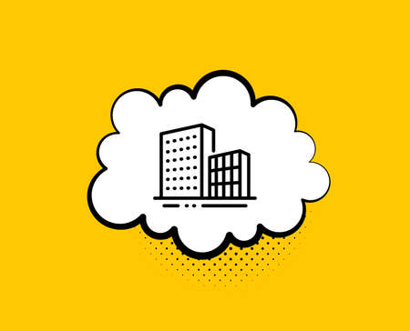 Buildings line icon. Comic speech bubble. City architecture sign. Skyscraper building symbol. Yellow background with chat bubble. Buildings icon. Colorful banner. Vector