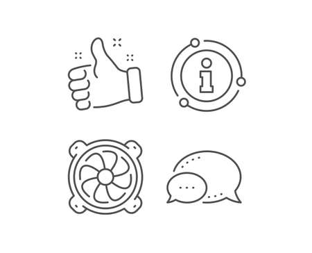 Computer cooler line icon. Chat bubble, info sign elements. PC fan component sign. Linear computer fan outline icon. Information bubble. Vector