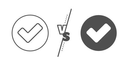 Approved Tick sign. Versus concept. Check line icon. Confirm, Done or Accept symbol. Line vs classic tick icon. Vector