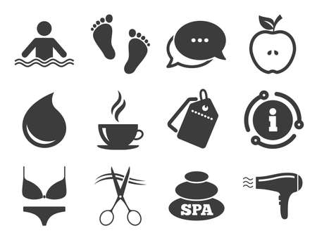 Swimming pool sign. Discount offer tag, chat, info icon. Spa, hairdressing icons. Lingerie, scissors and hairdryer symbols. Classic style signs set. Vector 向量圖像