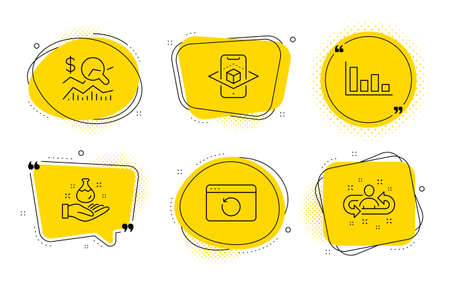Recovery internet, Check investment and Recruitment signs. Chat bubbles. Histogram, Chemistry lab and Augmented reality line icons set. Economic trend, Laboratory, Phone simulation. Vector