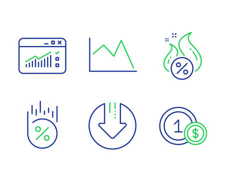 Web traffic, Loan percent and Line chart line icons set. Hot loan, Download arrow and Usd coins signs. Website window, Discount, Financial graph. Discount offer. Finance set. Vector Ilustração