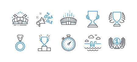 Set of Sports icons, such as Winner podium, Arena stadium, Winner, Ole chant, Timer, Medal, Swimming pool, Sports arena, Award cup, Laureate award line icons. Line winner podium icon. Vector