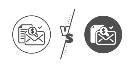 Audit sign. Versus concept. Accounting report line icon. Check finance symbol. Line vs classic accounting report icon. Vector Illustration