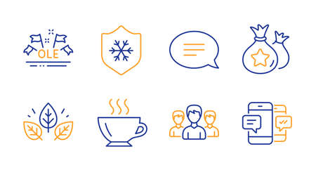 Group, Clean skin and Loyalty points line icons set. Organic tested, Chat and Ole chant signs. Coffee, Smartphone sms symbols. Group of people, Cold protect. Business set. Line group icon. Vector Illustration