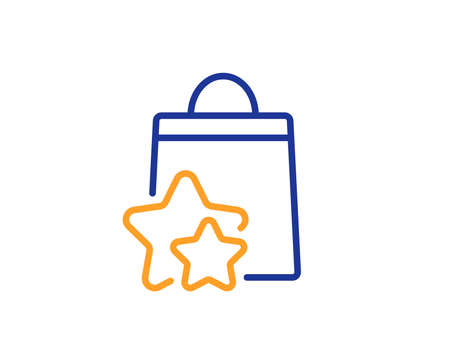 Bonus bags. Loyalty points line icon. Discount program symbol. Colorful outline concept. Blue and orange thin line loyalty points icon. Vector