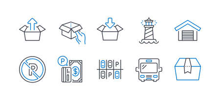 Set of Transportation icons, such as Get box, No parking, Parking place, Send box, Lighthouse, Bus line icons. Send package, Car park. Line get box icon. Vector Banque d'images - 133179702