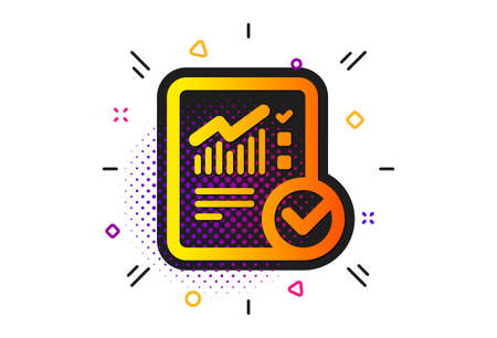 Analysis Chart or Sales growth report sign. Halftone circles pattern. Checklist document icon. Statistics data symbol. Classic flat checked calculation icon. Vector Ilustrace