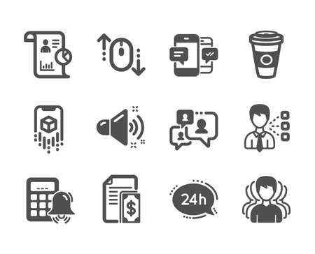Set of Business icons, such as Scroll down, Calculator alarm, Payment, 24h service, Support chat, Loud sound, Takeaway coffee, Augmented reality, Report, Group, Smartphone sms, Third party. Vector