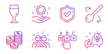 Correct checkbox, Confirmed and Cooking spoon line icons set. Employee hand, Gift and Coins signs. Beer glass, Idea symbols. Answer, Accepted message. Gradient correct checkbox icon. Vector Standard-Bild - 133179572