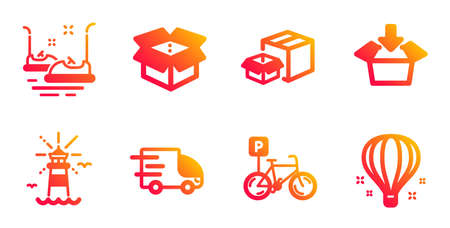 Get box, Truck delivery and Bicycle parking line icons set. Packing boxes, Lighthouse and Bumper cars signs. Open box, Air balloon symbols. Send package, Express service. Transportation set. Vector