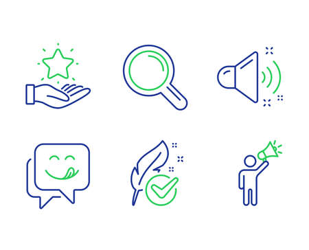 Loyalty program, Yummy smile and Hypoallergenic tested line icons set. Loud sound, Research and Brand ambassador signs. Bonus star, Emoticon, Feather. Music. Technology set. Vector