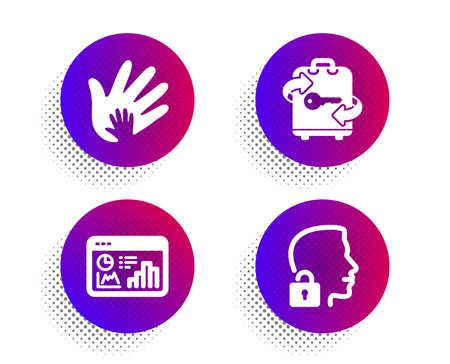 Seo statistics, Social responsibility and Luggage icons simple set. Halftone dots button. Unlock system sign. Analytics chart, Hand, Baggage locker. Access granted. Business set. Vector
