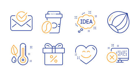 Discount offer, Approved mail and Takeaway coffee line icons set. Smile chat, Hazelnut and Idea signs. Thermometer, Reject access symbols. Gift box, Confirmed document. Business set. Vector Standard-Bild - 133180148